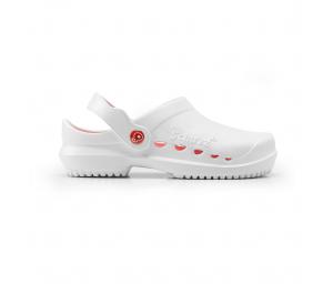 Schuzz-chaussure-sabot infirmière-protec-femme-blanc et corail
