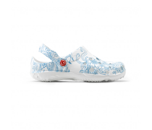 Schuzz-chaussure-sabot-globule-imprimé-infirmiere-sabot plastique-femme-mandala bleu